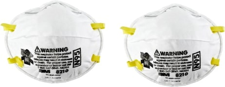 3M Dust Protection Anti Pollution Mask (White, Pack of 2)