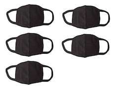 Amour-Propre Dust Protection Anti Pollution Mask (Black, Pack of 5)