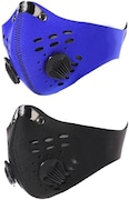 Jonty Dust Protection Anti Pollution Mask (Blue & Black, Pack of 2)