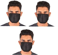 Ldhsati Dust Protection Anti Pollution Mask (Black, Pack of 3)