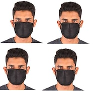 Ldhsati Dust Protection Anti Pollution Mask (Black, Pack of 4)