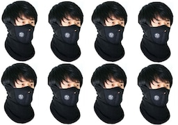 Sangaitap Dust Protection Anti Pollution Mask (Black, Pack of 8)