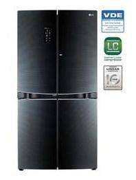 LG 1001 L Frost Free French Door 3 Star Refrigerator (GR D35FBGHL, Luminous Black)