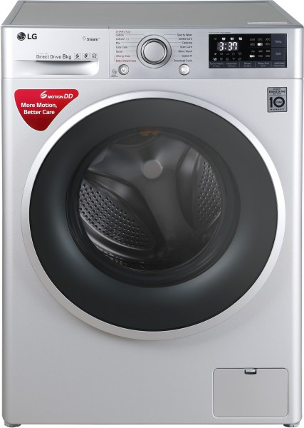 LG 8 kg Fully Automatic Front Load Washing Machine (FHT1208SWL, Silver)