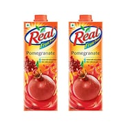 Real Fruit Power Pomegranate Juice (Pomegranate, 1LTR, Pack of 2)