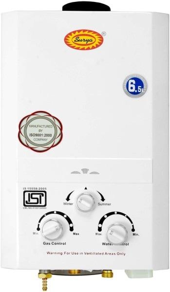 Surya 6.5L Gas Water Geyser (Elite, White)
