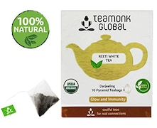 Teamonk Global Darjeeling 10 Pyramid Teabages White Tea (20GM, 10 Pieces)