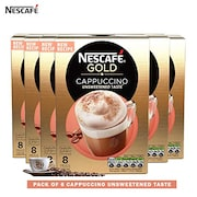Nescafe Gold Cappuccino Unsweetened Coffee (Cappuccino, 113GM, Pack of 6)