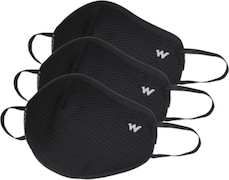 Wildcraft HypaShield W95 Protection Anti Pollution Mask (Black, Pack of 3)