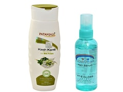 Patanjali Kesh Kanti Hair Cleanser With Milk Protein And Pink Root Hair Serum (200ML, Pack of 2)