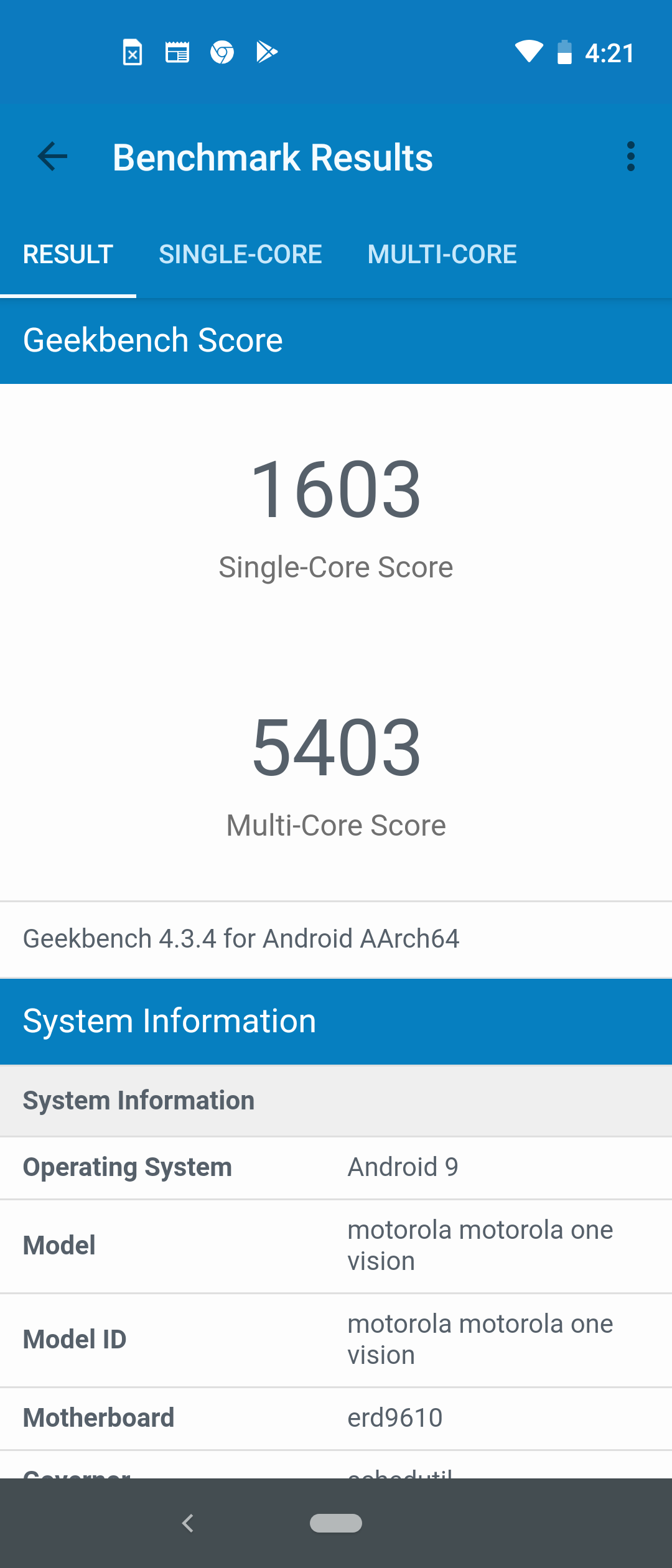 Motorola One Vision Benchmarks Images