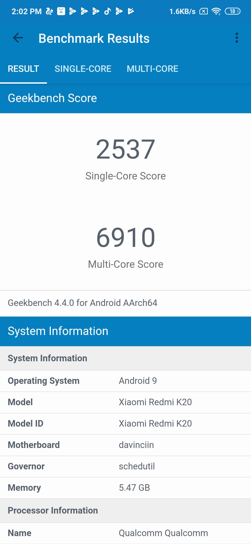 Xiaomi Redmi K20 Benchmarks Images