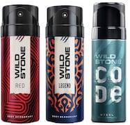 Wild Stone Legend Deodorant + Code Steel Deodorant + Red Spice Deodorant (150ML, Pack of 3)