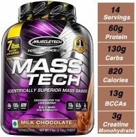 MuscleTech Mass Tech Advanced Muscle Mass Gainer Dietary Supplements (Chocolate, 3.18KG)