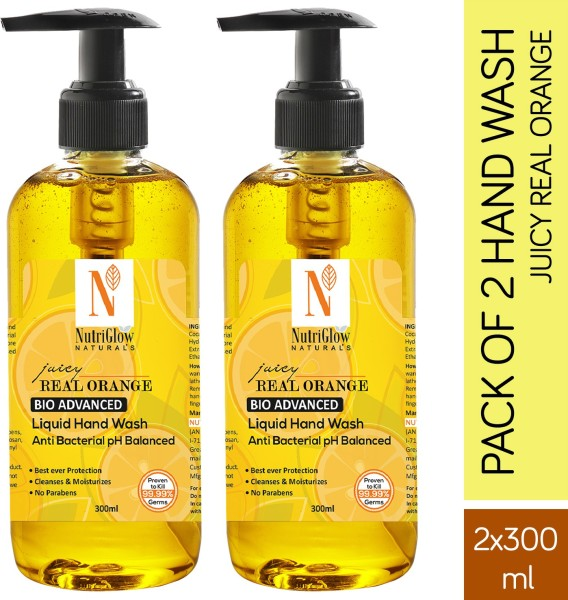 NutriGlow Naturals Juicy Real Orange Hand Wash (300ML, Pack of 2)