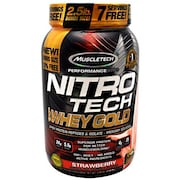 MuscleTech Nitro Tech Whey Gold Protein Dietary Supplements (Strawberry, 1.13KG)