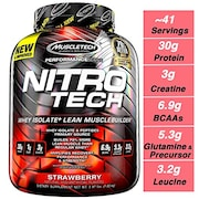 MuscleTech Nitro Tech Whey Isolate Plus Lean Musclebuilder Dietary Supplements (Strawberry, 1.81KG)