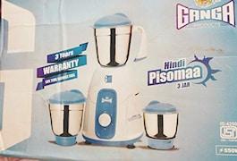 Ganga Pisoma Attsith 3 Stainless Jars 550W Mixer Grinder (Grey, 3 Jar)