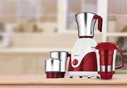 Pigeon Polycarbonate Andhi 750W Mixer Grinder (Red & White, 4 Jar)