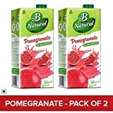 B Natural Pomegranate Juice (Pomegranate, 1LTR, Pack of 2)
