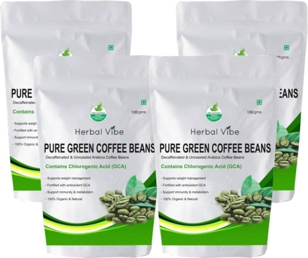 Herbal Vibe Pure Green Beans Powder Coffee (Green Coffee, 100GM, Pack of 4)