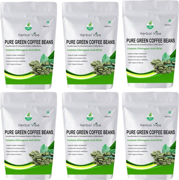 Herbal Vibe Pure Green Beans Powder Coffee (Green Coffee, 100GM, Pack of 6)