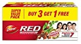 Dabur Red Paste For Teeth and Gums Toothpaste (200GM, Pack of 4)