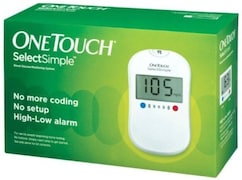 OneTouch Select Simple Glucometer (25 Strips, White)