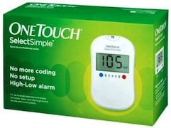 OneTouch Select Simple Glucometer (50 Strips, White)