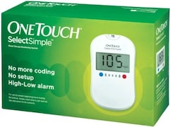 OneTouch Select Simple Glucometer (100 Strips, White)