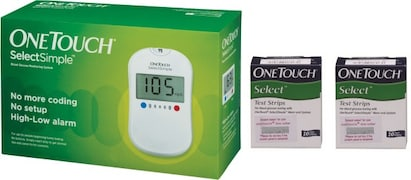 OneTouch Select Simple Glucometer (20 Strips, White)