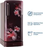 LG 190 L Direct Cool Single Door 4 Star Refrigerator (GL D201ASPX, Scarlet Plumeria)