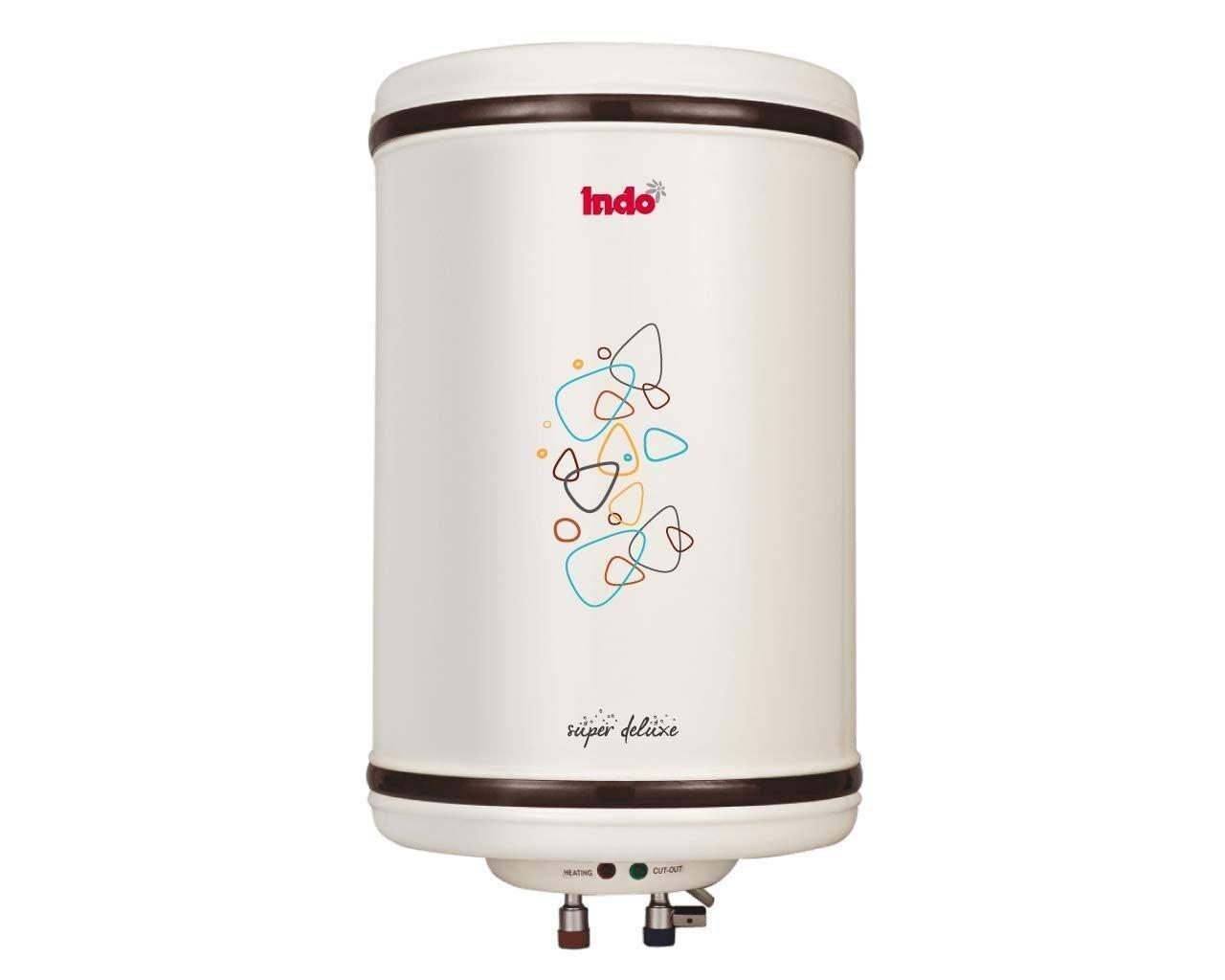 Indo 10L Storage Water Geysers (Super Deluxe, White)