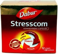 Dabur Stresscom Ashwagandha Capsules (10 Capsules, Pack of 12)