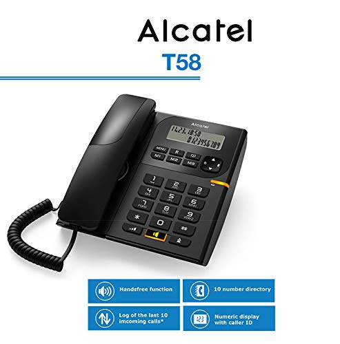 Alcatel T58 Corded Landline Phone (Black)