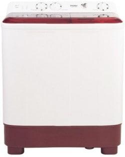 Haier 6.5 Kg Semi Automatic Top Load Washing Machine (HTW65-1187BT, White & Maroon)