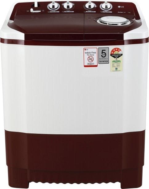 LG 7 kg Semi Automatic Top Load Washing Machine (P7010RRAY, White & Maroon)