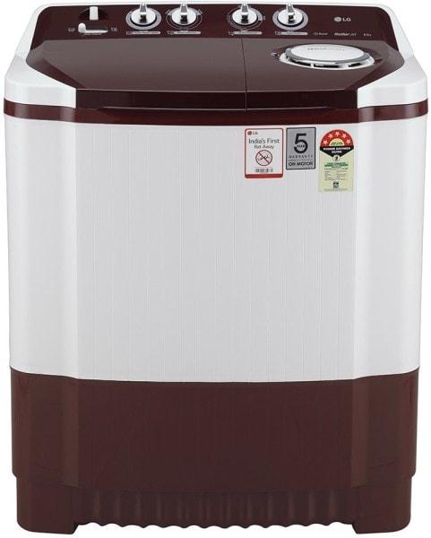 LG 8 kg Semi Automatic Top Load Washing Machine (P8030SRAZ, Maroon & white)