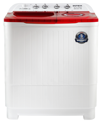 Intex 7.5 kg Semi Automatic Top Load Washing Machine (WMSA80AR, White & Red)
