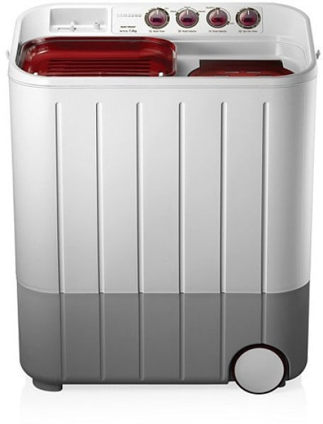 Samsung 7.2 kg Semi Automatic Top Load Washing Machine (WT727QPNDMW, Red & White)