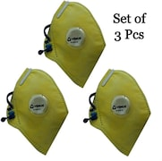 Venus V-410 Dust Protection Anti Pollution Mask (Yellow, Pack of 3)