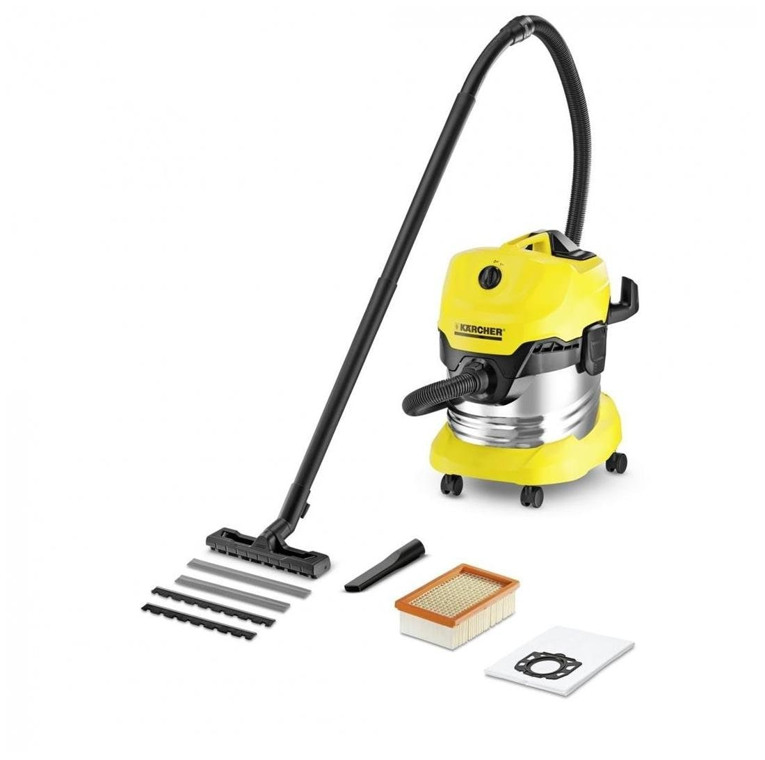 Karcher WD4 PRE Wet And Dry Vacuum Cleaner (Silver & Yellow)